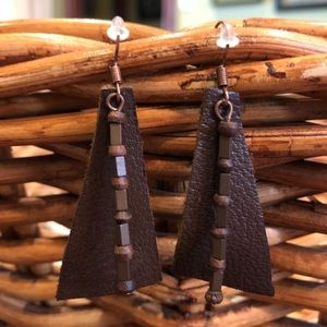 Geometric Genuine Leather Boho Pyramid Earrings